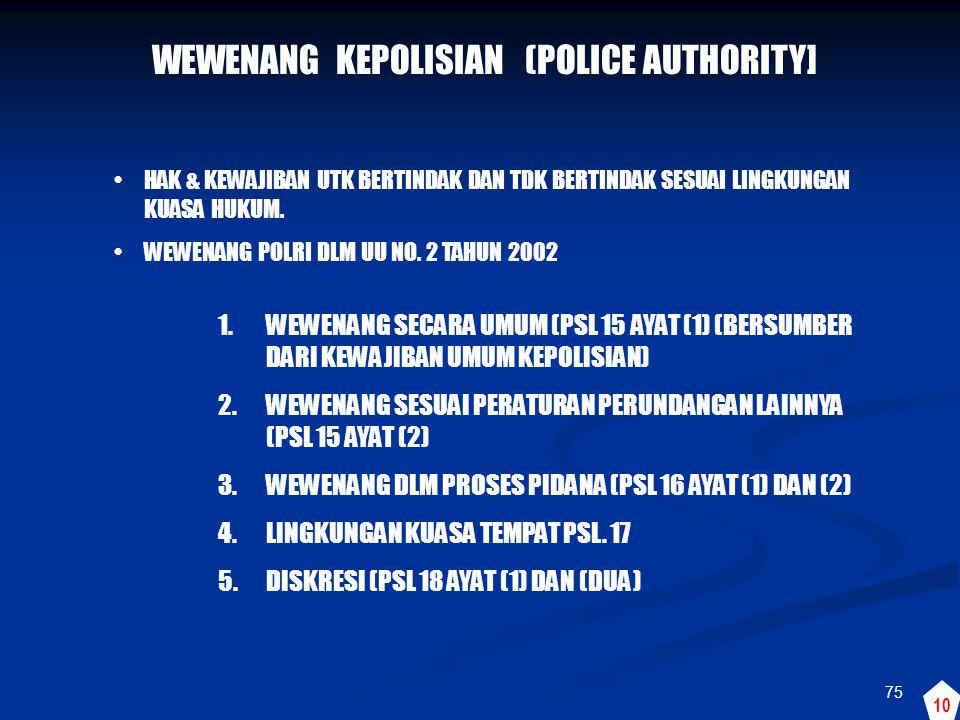 WEWENANG KEPOLISIAN (POLICE AUTHORITY]